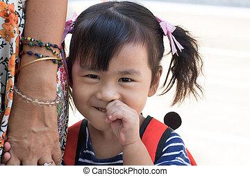 emoção, rosto, asiático, sorrindo, encantador, crianças, feliz