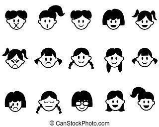 emoção, rosto, meninas, ícones