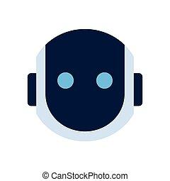 emoção, silencioso, robô, chocado, rosto, robotic, ícone,...