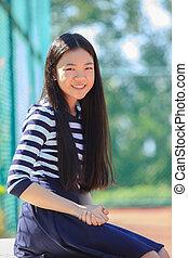emoção, toothy, ao ar livre, rosto, campo, asiático, retrato, menina, desporto, sorrindo, felicidade, feliz