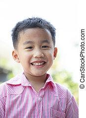 emoção, toothy, cima, rosto, alegre, asiático, headshot, fim, sorrindo, crianças, felicidade