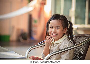 emoção, toothy, rosto, lar, sian, sorrindo, adorável, crianças, felicidade