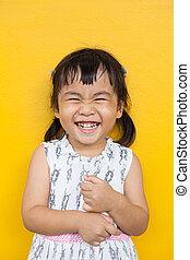 emoção, toothy, uso, parede, dental, cima, face amarela,...