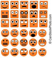 emoção, vetorial, ícones