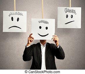 emoções, em, negócio