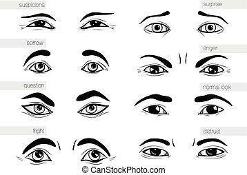 emoções, human, olhos, descrição