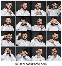 emoções, retratos, diferente, colagem, homem