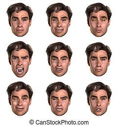 emoções, rosto, 9, (nine), um
