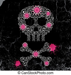 Emo background - Grunge emo background with skull and...
