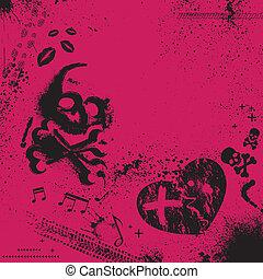 Emo background - Pink and black background. eps10