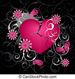 Emo  background with heart and flowers.