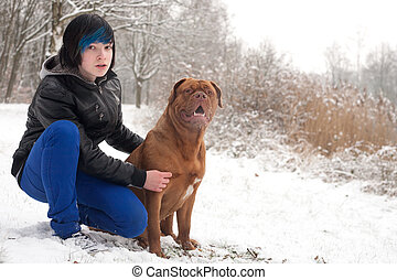 Emo boy and his dog are waiting