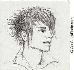 Emo boy - Three-quarter view of an emo boy head. Original ...