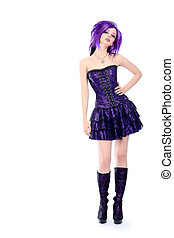 emo girl - Portrait of a punk girl. Isolated over white ...