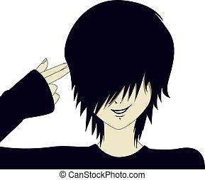 Emo kid with finger gun
