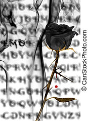 emo rose - a black rose on a emo background with blood and...