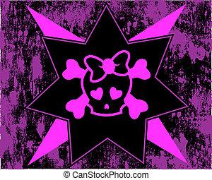 Emo skull on grunge background