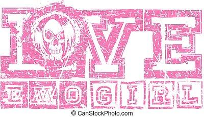 emo skull - Vector illustration shabby pink inscription love...