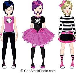 emo, stile, trois filles