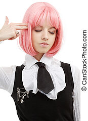 emo suicide - emo girl pointing imaginary gun at her head