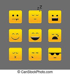 emoce, neobvyklý, čtverec, vybírání, postavit se obličejem k