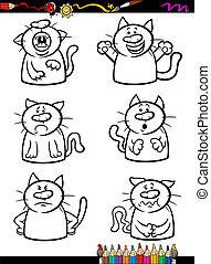 emoción, colorido, conjunto, caricatura, gatos, libro