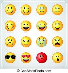 emoción, conjunto, gente, cara amarilla, sonriente,...