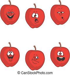 emoción, conjunto, manzana, 011, caricatura, rojo