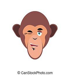 emoción, guiñar, mono, emoji., isolated., chimpancé, cara, mono tití, alegre