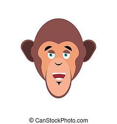 emoción, mono, emoji., isolated., chimpancé, cara, mono tití, alegre, feliz