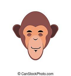 emoción, mono, emoji., isolated., chimpancé, sueño, mono tití, dormido, cara