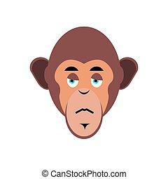 emoción, mono, emoji., isolated., infeliz, triste, mono tití, chimpancé, cara