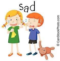 emoción, niño, dos, triste