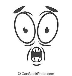 emoción, plano, simple, sorprendido, cara, horrify, logotipo, style., caricatura, icono