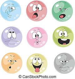 emoción, sonrisas, multicolor, conjunto, 001