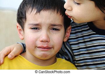 emocional, criança, cena, chorando