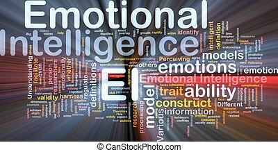 emocional, inteligência, fundo, conceito, glowing