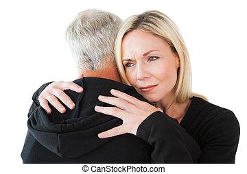emocional, mulher, abraçando, dela, sócio