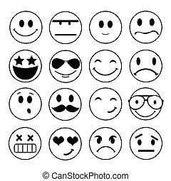 emocional, rosto, vetorial, ícones