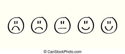emociones, forma, negro, reacción, handdrawn, clasificación, satisfacción