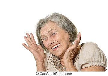 emocjonalny, kobieta, starszy