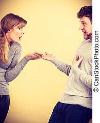 emocjonalny, para, arguing., młody