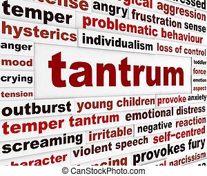 emocjonalny, tantrum, pojęcie, zachowanie