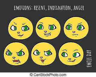 emoji, 漫画, セット, ベクトル, -, 憤慨, 怒り, 再送された, 感情