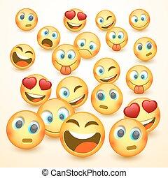 emoji, 현대, 3, 황색, 웃음, emotions.