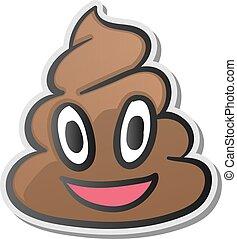 emoji, adesivo, símbolo, faces sorridentes, shit