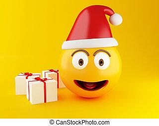 emoji, box., weihnachtsgeschenk, 3d
