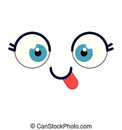 emoji, cômico, saída, língua, rosto