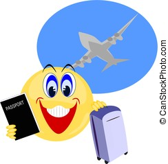 Emoji carrying passport and luggage with airplane