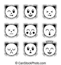 Emoji cat. Black and white emoji.